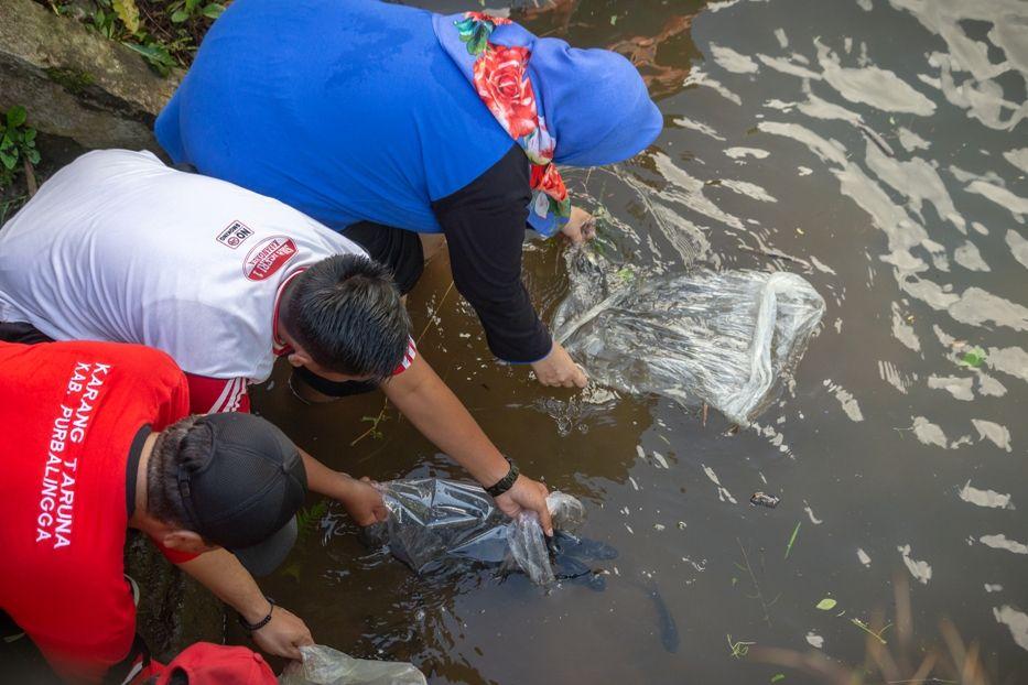 Penebaran Benih Ikan di Sungai Klawing dilakukan oleh Ibu Kepala Desa Dagan Hj. Sukarni, S.Sos dan Sekcam Bobotsari.